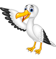 Cartoon funny seagull presenting isolated vector image