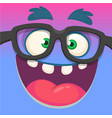 cartoon monster face wearing glasses vector image vector image