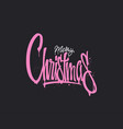 christmas hand drawn lettering design pink vector image