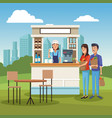 coffee stand ar park vector image vector image