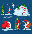 collection of christmas santa claus christmas set vector image
