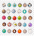 collection of doodle christmas balls vector image vector image