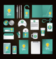 corporate identity template design with idea green vector image vector image