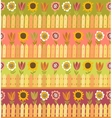 Country seamless pattern with fence and flowers vector image vector image