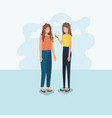 couple of women using smartphone vector image vector image