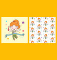 cute girl win relay sport character pattern vector image vector image