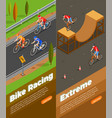 cyclists isometric vertical banners vector image
