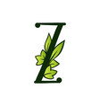 doodling eco alphabet letter ztype with leaves vector image