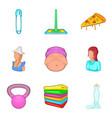 feminine icons set cartoon style vector image vector image