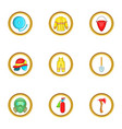 firefighter service icon set cartoon style vector image