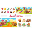 flat sweets colorful collection vector image
