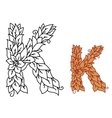 Floral and foliate font letter K vector image vector image