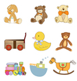 funny toys items set isolated on white background vector image vector image