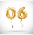 golden number 06 zero six metallic balloon party vector image vector image