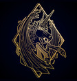 graphic demonic unicorn vector image vector image