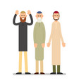 group muslim arabic people men standing together vector image vector image