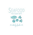 hand drawn seafood vector image vector image