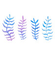 hand drawn watercolor blue twig set on white vector image