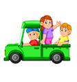 happy family playing in the car and her daddy vector image vector image