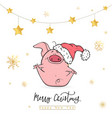 happy new year 2019 with funny pink pig vector image vector image