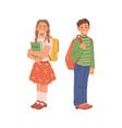 happy smiling school children with backpacks kids vector image vector image