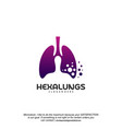 hexagon lungs logo designs lungs with hexagon vector image