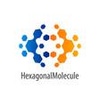hexagonal molecule flip logo concept design vector image vector image