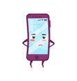humanized mobile phone with sad face smartphone vector image