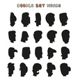 Isolated silhouettes mens heads with a white vector image vector image