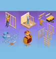 isometric interior repairs concept builder with vector image vector image