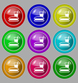 lunch box icon sign symbol on nine round colourful vector image vector image