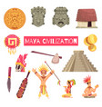 maya civilization set vector image