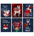 merry christmas greeting cards cute design vector image vector image