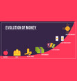 money evolution concept from barter bitcoin vector image vector image