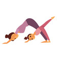 mother and daughter does yoga exercises isolated vector image vector image