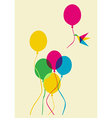 Multicolored humming bird and balloons vector image vector image