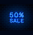 neon 50 sale text banner night sign vector image vector image