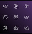 new icons line style set with fir cone magicians vector image vector image