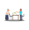 old lady on consultation in volunteer center vector image