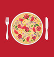 pizzeria concept pizza in plate vector image vector image