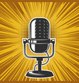 retro microphone on vintage background design vector image vector image