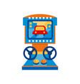 retro racing car arcade game machine with steering vector image vector image