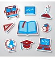 School education sticker icons set with - globe vector image