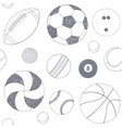 seamless pattern with set of sport balls hand vector image vector image