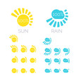 set of icons of sun and rain vector image