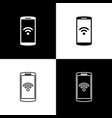 set smartphone with free wi-fi wireless connection vector image vector image