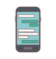smartphone with chat text in screen in colorful vector image vector image