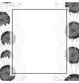 sunflower banner card border outline vector image vector image