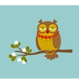 The portrait of fashionable owl on the branch vector image vector image