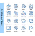 thin line navigation related icons set vector image